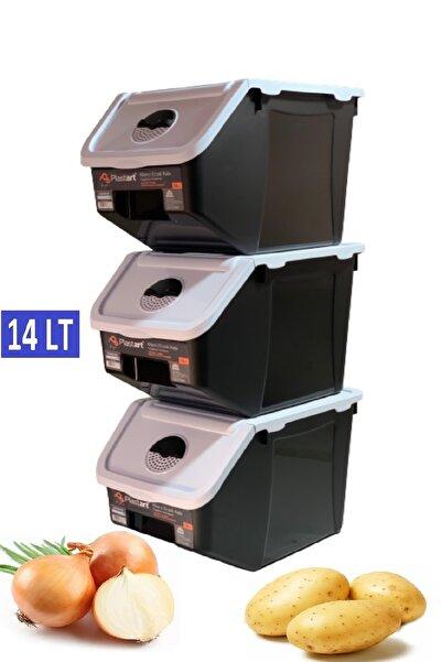 intekhome 3 Adet Patates Soğan Erzak Kiler Saklama Kabı 14 Litre Kilerkabı (beyaz Kapaklı)