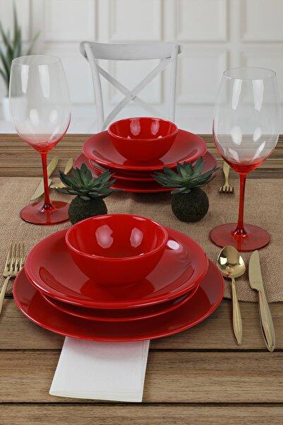 Keramika Ege Kırmızı Yemek Takımı 8 Parça 2 Kişilik