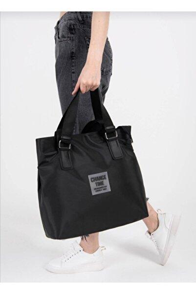Gez çanta Kadın Siyah Çıt Çıt Klipsli Büyük Boy Change Time Shopper Çanta