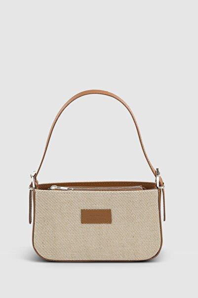 Housebags Kadın Hasır Taba Baguette Çanta 208
