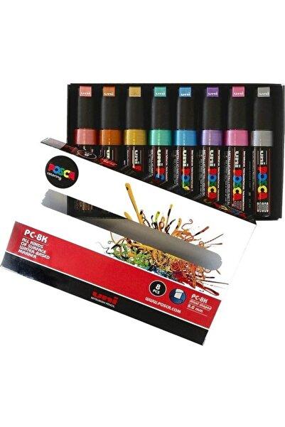 Uni Posca Pc-8k Su Bazlı Boyama Markörü Seti Metalik Renkler 8 Renk