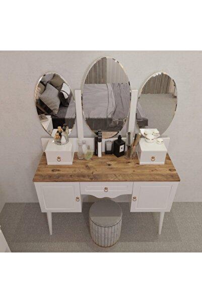 Y&E ALBERO Beyaz Çam Makyaj Masası Şifonyer