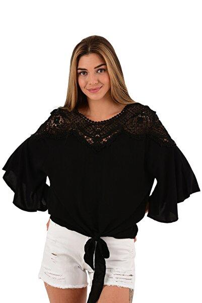 Modagusto Siyah Önden Bağlamalı Dantel Detaylı Bluz