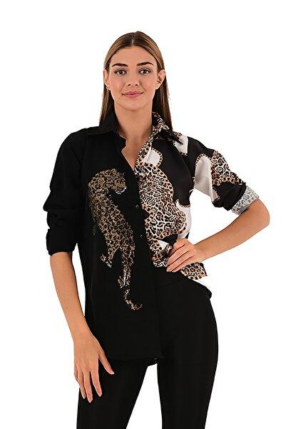 Modagusto Kaplan Baskılı Siyah Gömlek