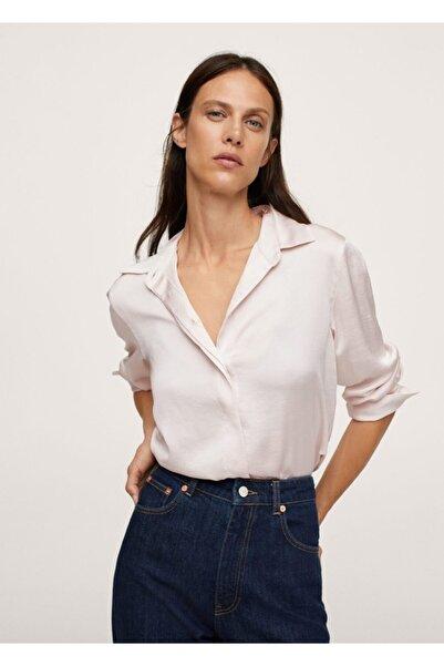 MANGO Woman Kadın Ekrü Saten Yüzeyli Dökümlü Gömlek