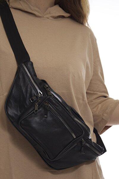Fume London Kadın Siyah Çok Cepli Hakiki Deri Freebag Bel Çantası Fb3167