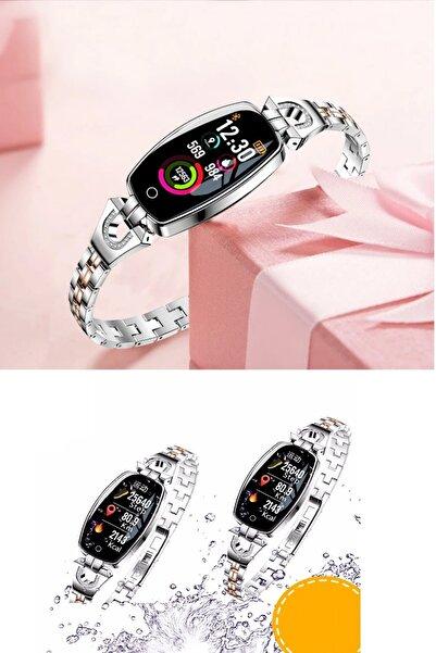 esmelen Ios & Android Uyumlu Şık Tasarım Adım Sayar, Nabız Ve Kalp Ölçer Mesaj, Arama H-8 Kadın Akıllı Saat