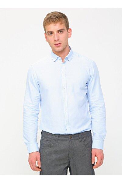 Kip Erkek Slim Fit Düz Açık Mavi Gömlek