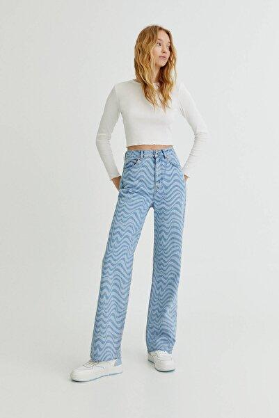 Pull & Bear Saykodelik Desenli Straight Fit Jean