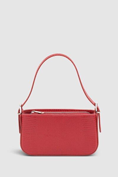 Housebags Kadın Tokalı Kırmızı Baguette Çanta 208