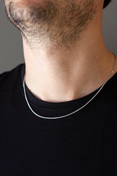 The Collection Unisex Gümüş Ince Yılan Model Çelik Zincir Erkek Kolye