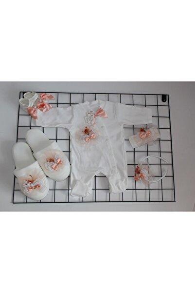 Petite Ponpon Baby Kız Bebek Kurumuş Çiçekli Lüks Tulumlu Lohusa Terlik Hastane Çıkış Seti
