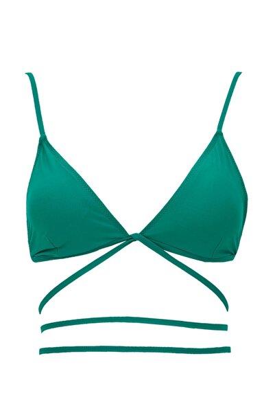 DeFacto Beli Bağlama Detaylı Triangle Bikini Üstü