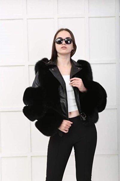 Loris Tüylü Kadın Deri Ceket