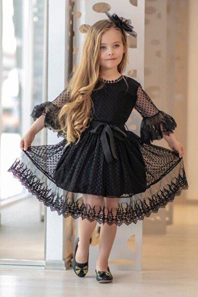Riccotarz Kız Çocuk Siyah Prenses Güpürlü Çantalı  Elbise