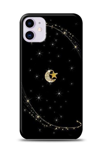 MobilCadde Iphone 11 Uyumlu Ay Yıldız Gökyüzü Taşlı Kılıf