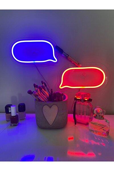 Bee Neon Konuşma Balonu 2'li Set (içi Yazılabilir+kalemli) Led Neon Gece Lambası Aydınlatma Duvar Süsü