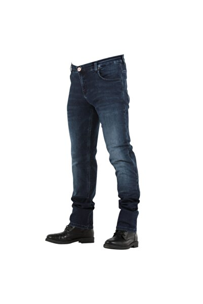Tech90 Overlap Monza Dark Blue Kevlar Jeans Motosiklet Pantolonu