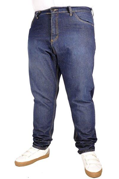 ModeXL Büyük Beden Erkek Pantolon Kot 5cep Vertical Lycra 21915 Blue Black