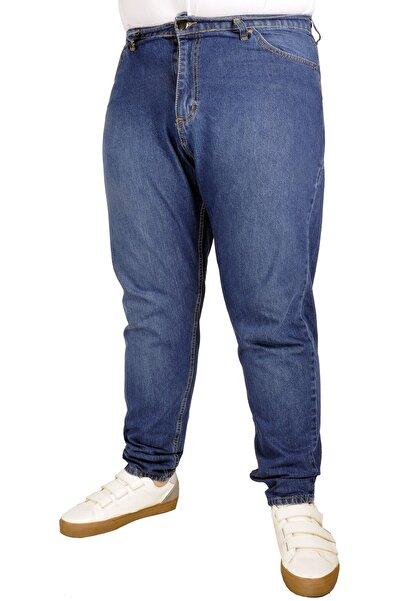 ModeXL Büyük Beden Erkek Pantolon Kot 5cep Vertical Lycra 21915 Lacivert