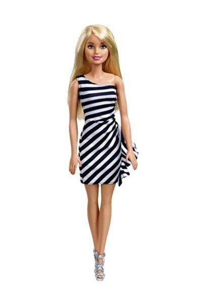 Barbie Pırıltı Barbie Bebekler - Siyah Beyaz Çizgili Elbiseli FXL68-T7580