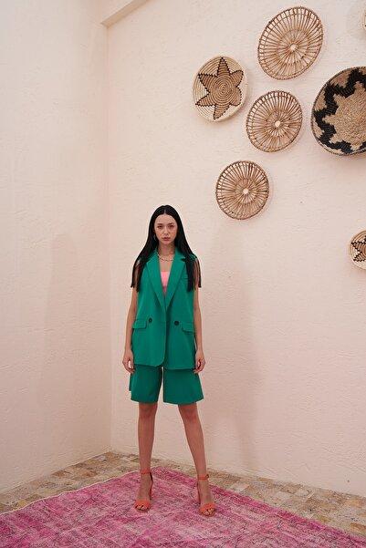 Eka Kadın Benetton Yeşili İki Düğmeli Blazer Yelek 0993-2114