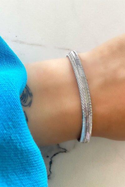 TAKIŞTIR Gümüş Renk İtalyan Yassı Zincir Bileklik