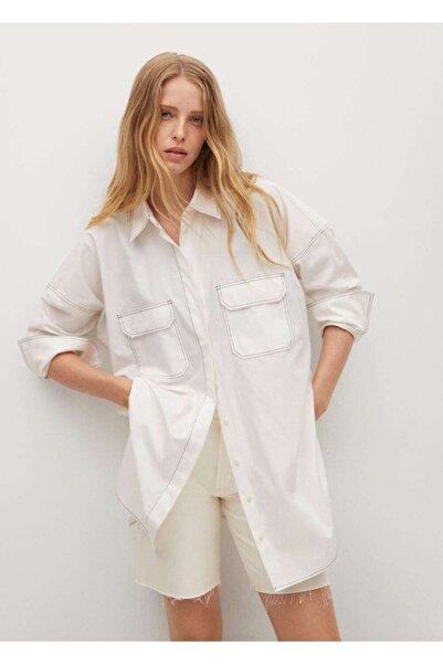 MANGO Woman Kadın Kırık Beyaz Kontrast Dikişli Pamuklu Gömlek