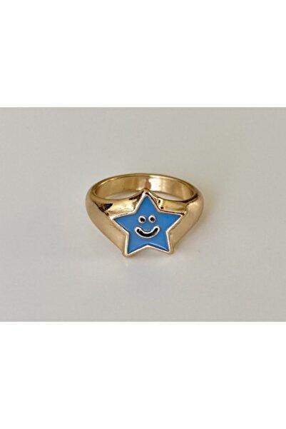 lesseffortless Mavi Yıldız Desenli Smiley Yüzük