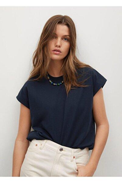 MANGO Woman Kadın Lacivert %100 Geri Dönüştürülmüş Pamuklu Tişört