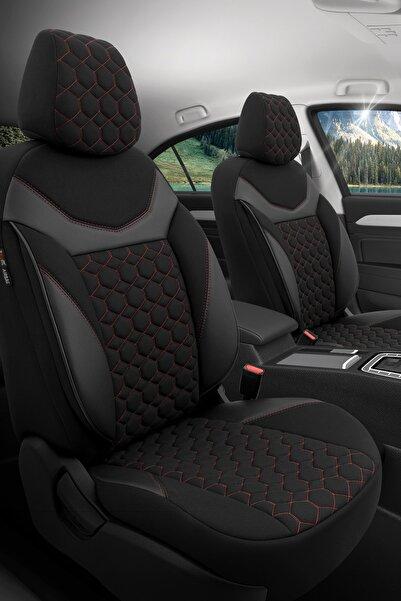 Otom Airbag Dikişli Ortopedik Yüksek Kalite Oto Koltuk Kılıfı Tam Set - Sapphire Design Siyah-kırmızı