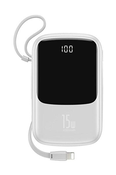 Baseus Q Pow 3a Dijital Gösterge 10000mah Power Bank + Iphone Uyumlu Şarj Başlık Beyaz