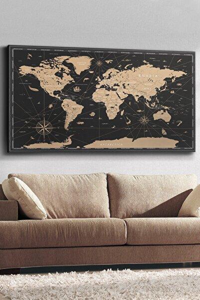 Evinemoda Vintage Dünya Haritası Kanvas-canvas Tablo
