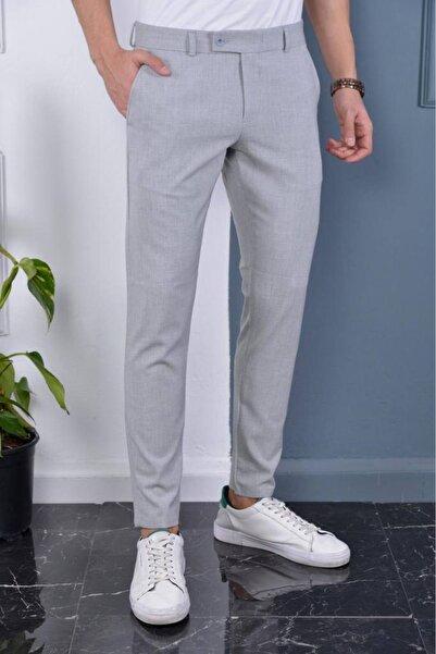 Bürke Erkek Gri Italyan Kesim Slimfit Kumaş Pantolon