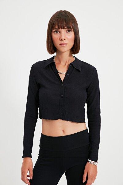 TRENDYOLMİLLA Lacivert Düğmeli Polo Yaka Bürümcük Crop Örme Bluz TWOAW22BZ0241
