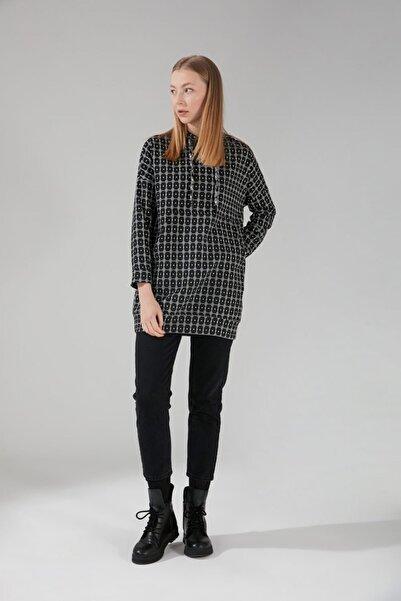 Mizalle Sim Desenli Siyah Sweatshirt