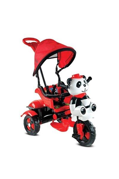 BabyHope 127 Little Panda Ebeveyn Kontrollü Tenteli Müzikli Tricycle Üç Teker Bisiklet -kırmızı/siyah