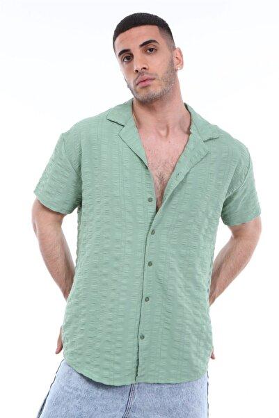 Rocqerx R-3314 Apaş Yakalı Kısa Kol Gofre Gömlek