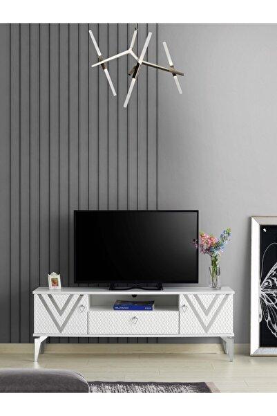 Venüs 150 Cm Vitton Gümüş Tv Sehpası Beyaz