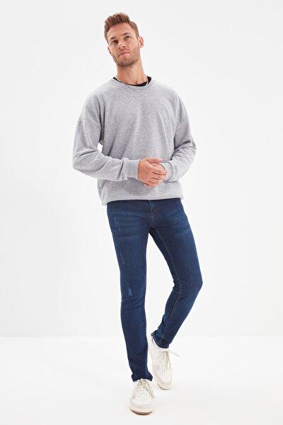 TRENDYOL MAN Indigo Erkek Skinny Tırmıklı Jeans TMNSS20JE0331