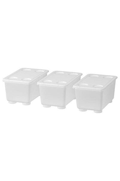 IKEA 3 Parça ,kapaklı Saklama Kutuları Meridyendukkan Beyaz Renk Şeffaf-düzenleme Kutusu 3lü