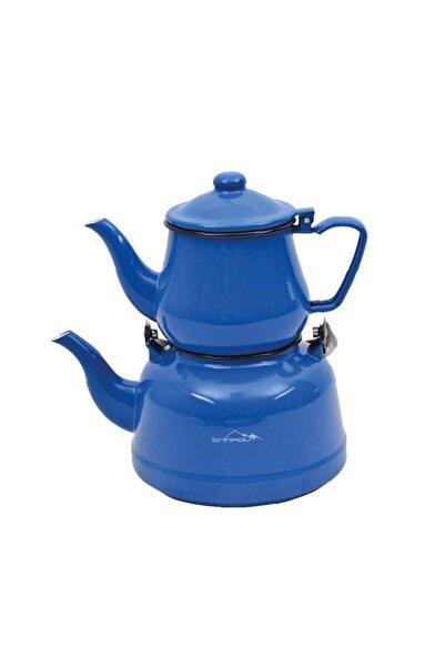 NURGAZ Mavi Campout Emaye Çaydanlık Set