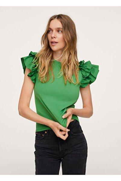 MANGO Woman Kadın Yeşil Kolları Fırfırlı Tişört