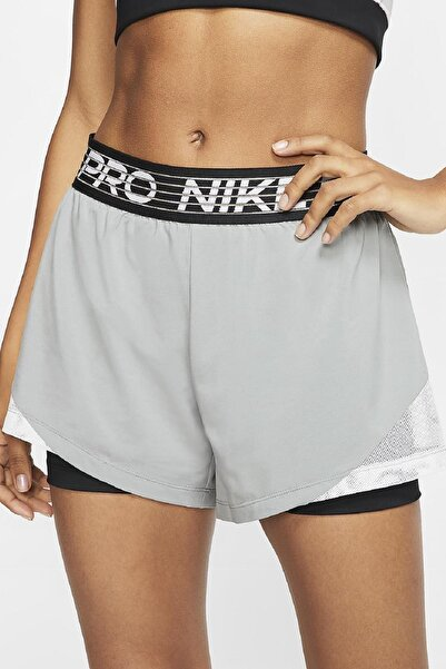 Nike Pro Flex 2 In 1 İkisi Bir Arada Taytlı Kısa Şort Gri Siyah