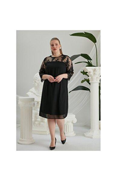 RMG Dantel Detaylı Büyük Beden Şifon Elbise