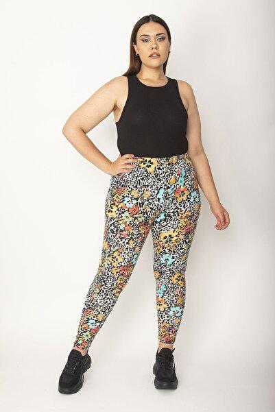 Şans Kadın Renkli Pamuklu Kumaş Çiçek Desenli Tayt Pantolon 65N27149