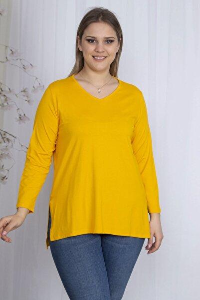 Şans Kadın Sarı V Yakalı Yan Yırtmaçlı Bluz 65N27344