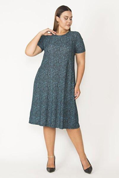 Şans Kadın Yeşil Krep Viskon Kısa Kollu Elbise 65N27419