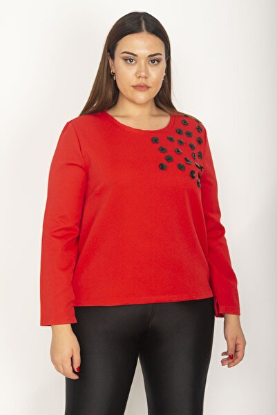 Şans Kadın Kırmızı Göğsü Payet İşli Dokuma Kumaş Uzun Kollu Bluz 65N27106