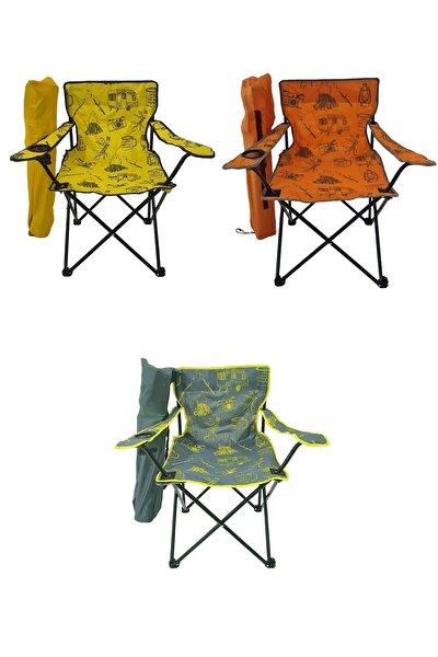 Bofigo 3 Adet Kamp Sandalyesi Katlanır Sandalye Bahçe Koltuğu Piknik Plaj Sandalyesi Desenli Karma.